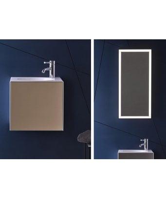 Alape Folio 1 Tap Hole Steel Washbasin with White Waste, 1 Door Vanity Unit and LED Mirror
