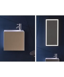 Folio 1 Tap Hole Steel Washbasin with White Waste, 1 Door Vanity Unit and LED Mirror