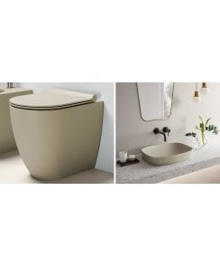 Sfera 52 Back to Wall Floorstanding WC, Soft Close Seat and Countertop Basin Satin Grey - EX DISPLAY
