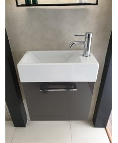 Zero Verso 1 Door Cloakroom Vanity Unit, 1 Tap Hole Basin & Zucchetti Tap and Waste - Gloss Metallic Grey - EX DISPLAY