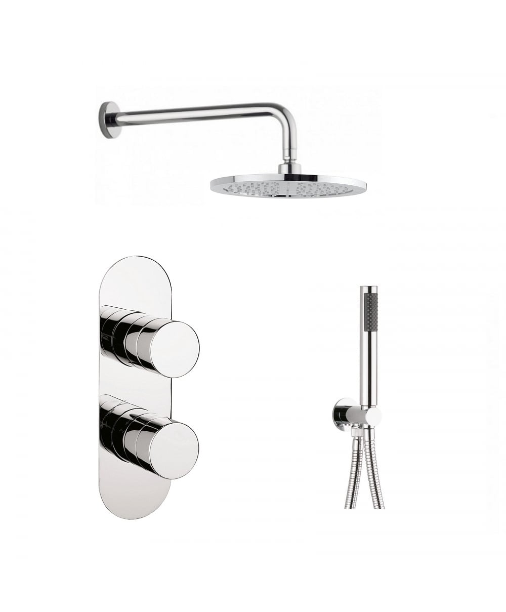 Crosswater Central Thermostatic Shower Valve With 2 Way Diverter, Wall  Shower Arm And Dial 225mm ...