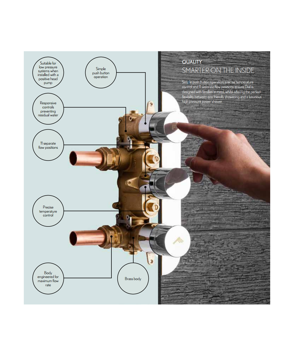 Crosswater Dial Valve 1 Control Shower Set with Central Trim