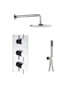 Kai Lever Thermostatic Shower Valve, Wall Shower Arm and 200mm Central Shower Head and Designer Handset