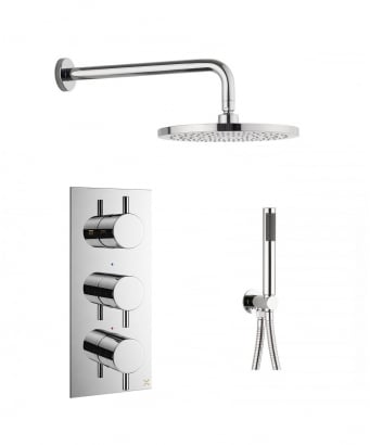 Crosswater Mike Pro Thermostatic Shower Valve, Wall Shower Arm and 250mm Central Shower Head and Designer Handset
