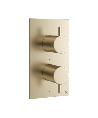 Crosswater MPRO Double Outlet Thermostatic Bath Shower Valve - Bath & Handset Etched