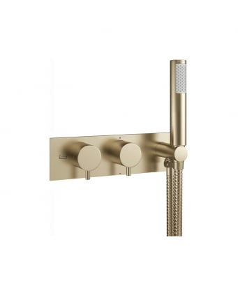 Crosswater MPRO Double Outlet Thermostatic Bath Shower Valve With Kit - Bath & Handset Etched