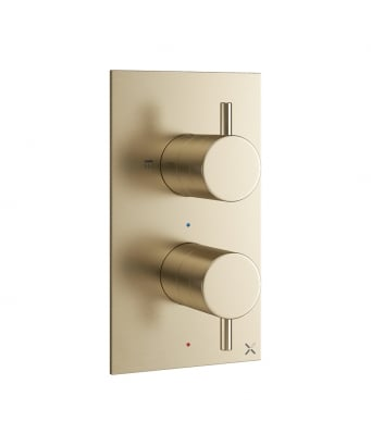 Crosswater MPRO Double Outlet Thermostatic Shower Valve - Fixed Head & Handset Etched