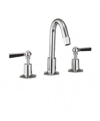 Crosswater Waldorf Black Lever 3-Hole Basin Mixer