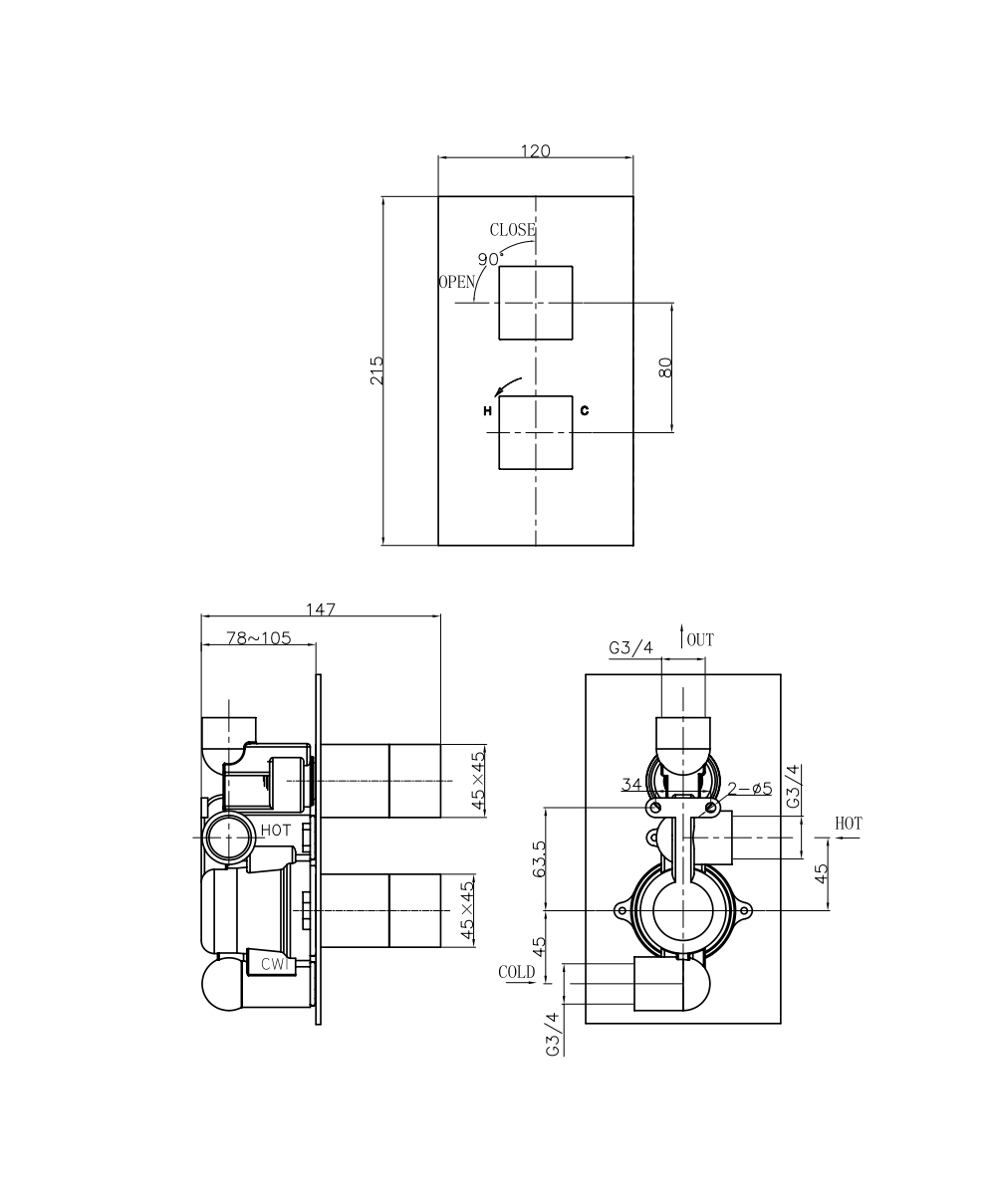 Crosswater Water Square Thermostatic Shower Valve Ws1000rc Diagram