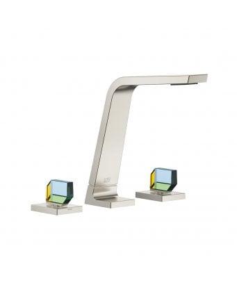 Dornbracht CL.1 3 Hole Basin Mixer with Swarovski Crystal IRIDESCENT Design Valves and Waste - Platinum Matt