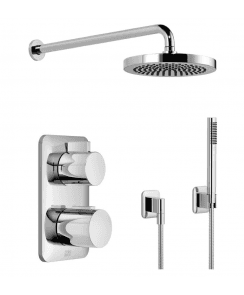 Lissé Luxury Thermostatic Shower Valve with 2 Way Diverter, Wall Mounted 220mm Overhead Shower and Handset