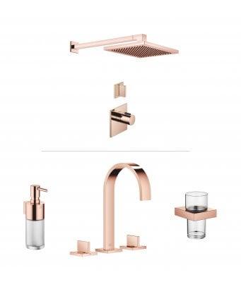 Dornbracht MEM Luxury Thermostatic 1 Outlet Shower and Basin Mixer Bundle - Cyprum 18 Carat Rose Gold