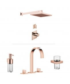 MEM Luxury Thermostatic 1 Outlet Shower and Basin Mixer Bundle - Cyprum 18 Carat Rose Gold