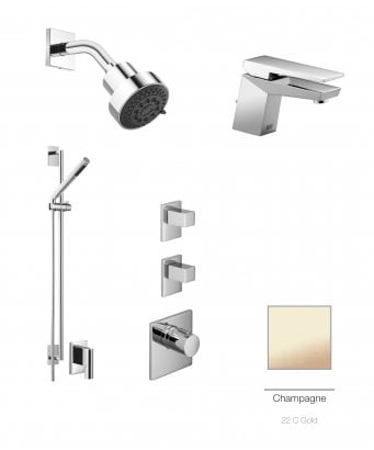 Dornbracht Supernova Luxury Thermostatic 2 Outlet Shower and Basin Mixer Bundle - Champagne 22 Carat Gold