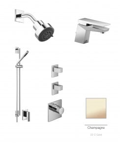Supernova Luxury Thermostatic 2 Outlet Shower and Basin Mixer Bundle - Champagne 22 Carat Gold