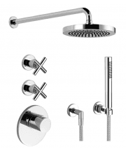 Tara Luxury Thermostatic Shower Mixer with 2 Shut Off Valves, Wall Mounted 220mm Overhead Shower and Handset