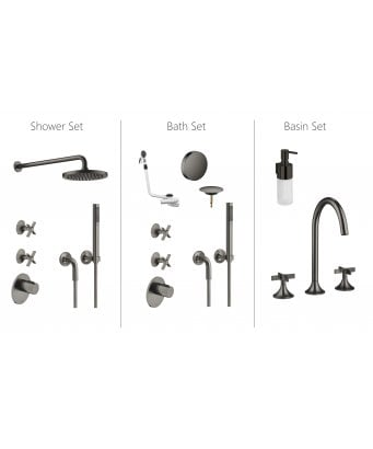 Dornbracht VAIA Shower, Bath and Basin Bundle - Dark Platinum Matt