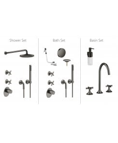 VAIA Shower, Bath and Basin Bundle - Dark Platinum Matt