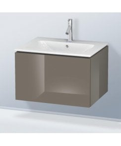 Duravit L-Cube 620mm 1 Drawer Vanity Unit and 1 Tap Hole Basin - Flannel Grey High Gloss