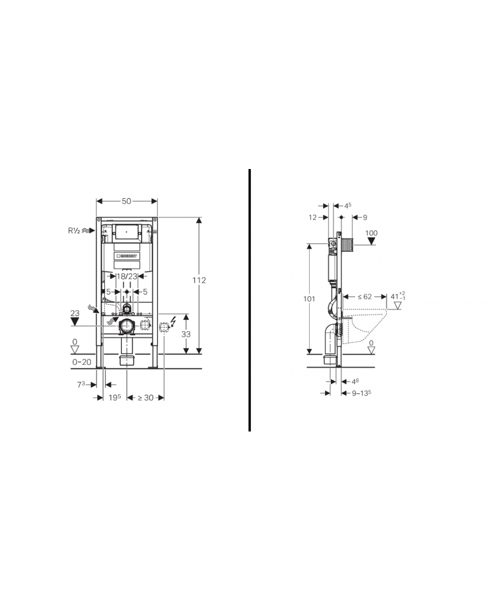 Geberit duofix frame for wall hung wc h82 with omega cistern 12cm - Geberit Duofix Frame For Wall Hung Wc H82 With Omega Cistern 12cm 5