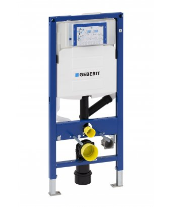 Geberit Duofix Frame for Wall-Hung WC, H112, with Sigma Cistern 12cm, Connection for Odour Extraction with Filtration
