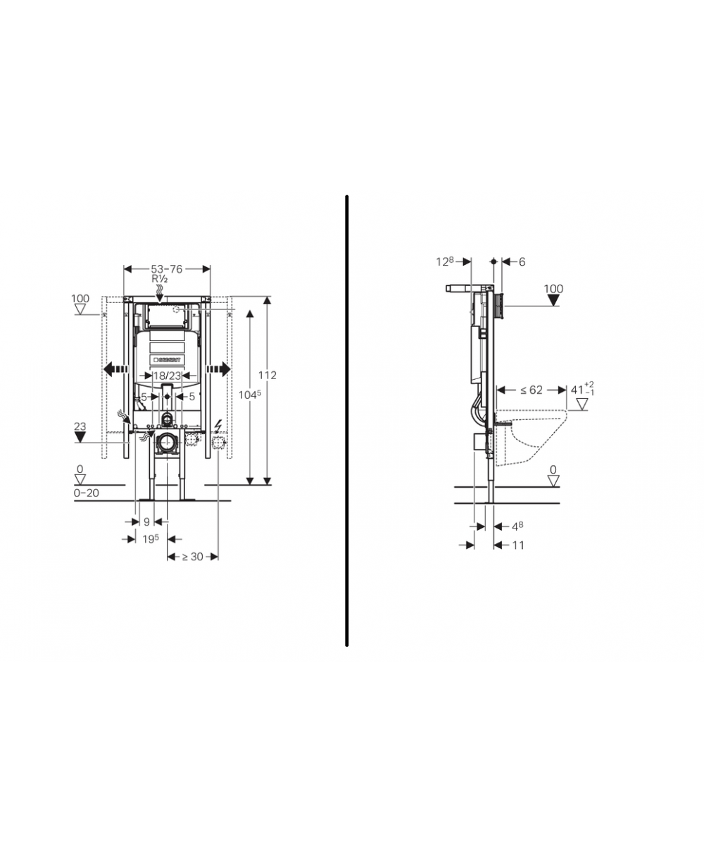 Sehr Geberit Duofix Frame for Wall-Hung WC, H112 Sigma Cistern 12cm -Corner GL47