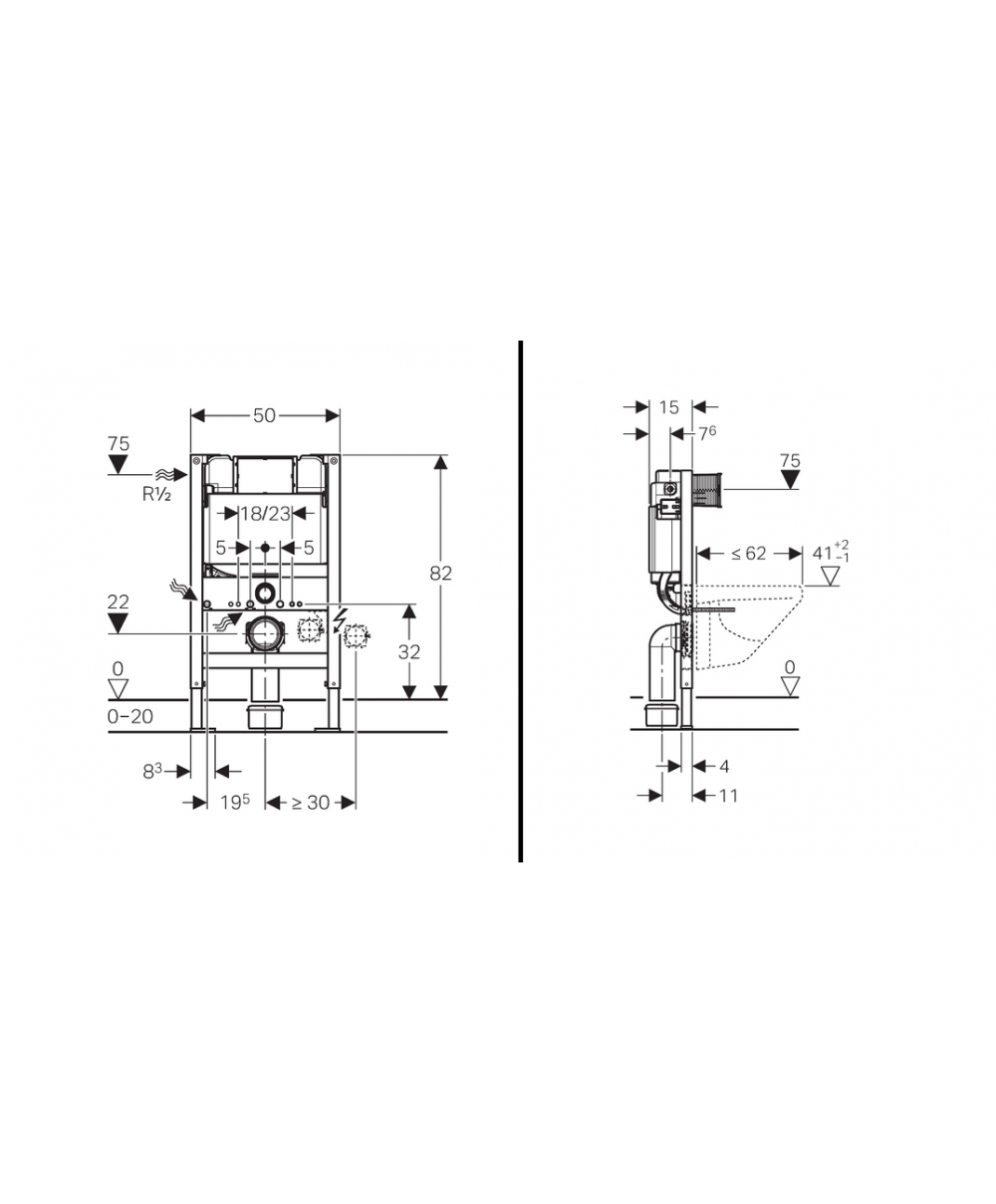 Geberit duofix frame for wall hung wc h82 with omega cistern 12cm - Geberit Duofix Frame For Wall Hung Wc H82 With Omega Cistern 12cm 6