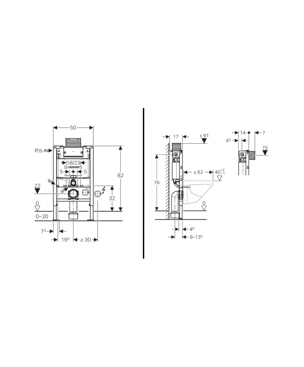 Geberit duofix frame for wall hung wc h82 with omega cistern 12cm - Geberit Duofix Frame For Wall Hung Wc H82 With Omega Cistern 12cm 1