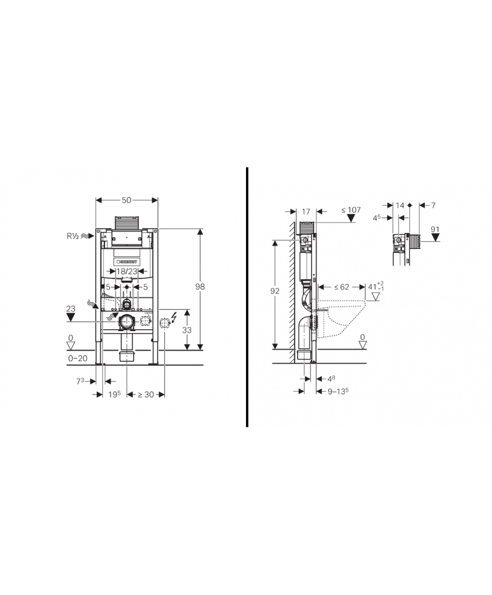 Geberit duofix frame for wall hung wc h82 with omega cistern 12cm - Geberit Duofix Frame For Wall Hung Wc H82 With Omega Cistern 12cm 7