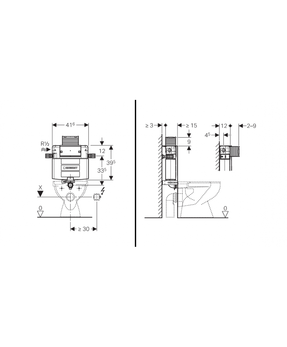 Omega Concealed Cistern 12cm 6 3 Litres Installation Height 82cm Keyless Entry Wiring Diagram Geberit