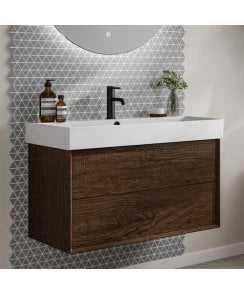 Vantage 850mm 2 Drawer Vanity Unit and 1 Tap Hole Basin - Dark Oak