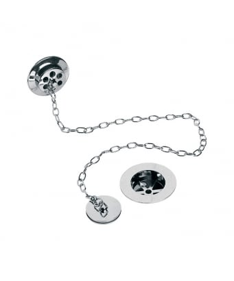 Lefroy Brooks Bath Waste Kit with Brass Overflow, Plug and Oval Chain