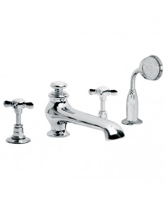 Lefroy Brooks Classic 4-Hole Bath Set With Diverter & Pull-Out Hand Shower