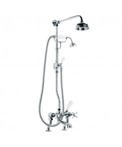 "Classic Bath Shower Mixer with Riser Kit, Lever Diverter , Hand Shower & 5"" Rose"