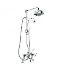 "Classic Bath Shower Mixer with Riser Kit Lever Diverter Hand Shower & 8"" Rose"