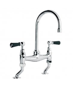 Classic Black Lever Basin Bridge Mixer with 164mm Spout