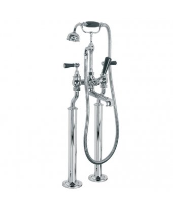 Lefroy Brooks Classic Black Lever Bath Shower Mixer with Extended Legs