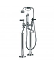 Classic Black Lever Bath Shower Mixer with Standpipe Sleeves Rim Mounting