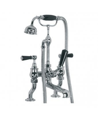 Lefroy Brooks Classic Black Lever Deck Bath Shower Mixer