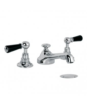 Lefroy Brooks Classic Black Lever Three Hole Basin Mixer with Pop-Up Waste