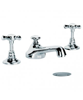 Lefroy Brooks Classic Three Hole Basin Mixer with Pop-Up Waste