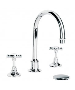 Classic Tubular Three Hole Basin Mixer with Click-Up Waste