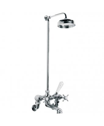 "Lefroy Brooks Classic Wall Mounted Bath Shower Mixer with Riser & 8"" Rose"