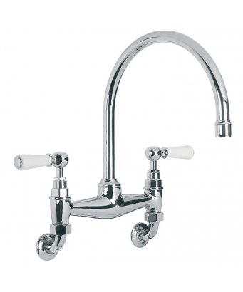 Lefroy Brooks Classic Wall Mounted White Lever Basin/Kitchen Bridge Mixer with 240mm Spout
