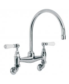 Classic Wall Mounted White Lever Basin/Kitchen Bridge Mixer with 240mm Spout