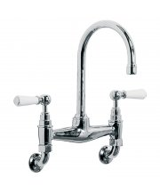 Classic Wall Mounted with White Lever Basin Bridge Mixer with 164mm Spout