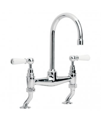 Lefroy Brooks Classic White Lever Basin Bridge Mixer with 164mm Spout