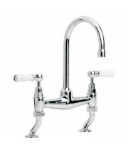 Classic White Lever Basin Bridge Mixer with 164mm Spout