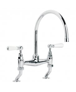 Classic White Lever Basin/Kitchen Bridge Mixer with 240mm Spout