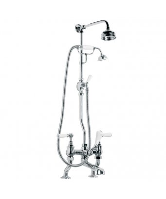 "Lefroy Brooks Classic White Lever Bath Shower Mixer with Riser Kit, Lever Diverter, Hand Shower & 5"" Rose"